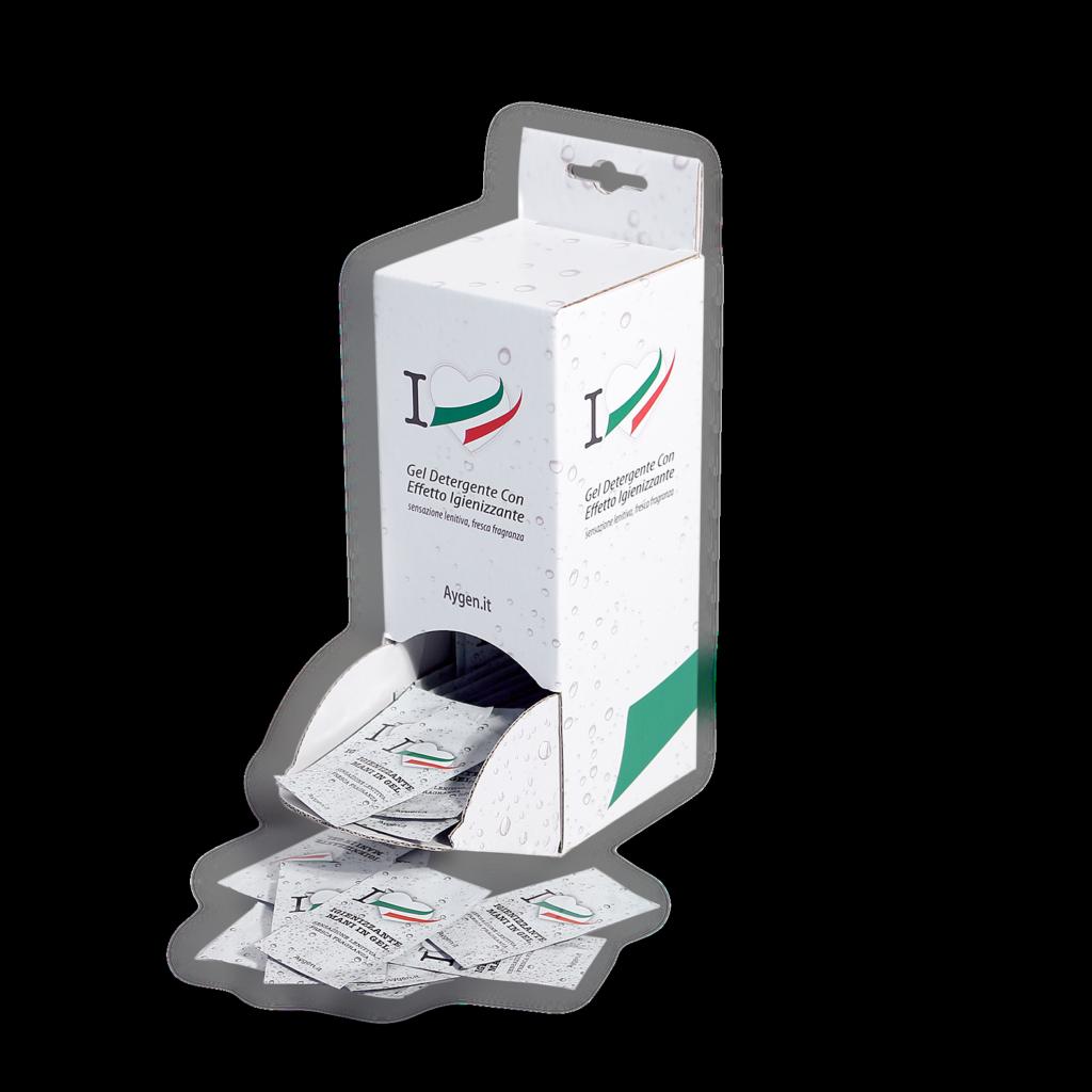 Gel igienizzante mani in bustina con dispenser personalizzato